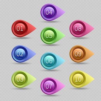 Zehn farbkugelpunkte mit zahlenvektorsammlung. illustration des netzkugelpunktpfeiles