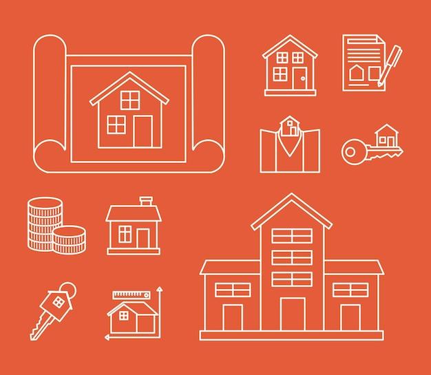 Zehn immobiliensymbole
