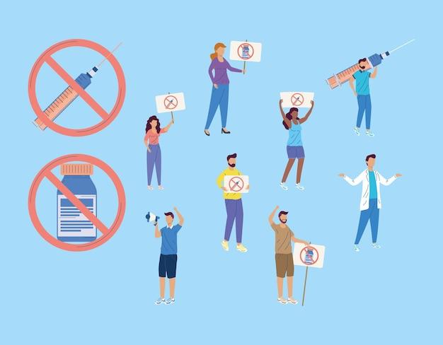 Zehn impfstoff-zögern gesetzte icons