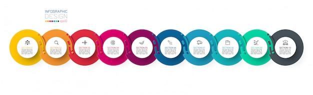 Zehn infografiken mit harmonischen kreisen.