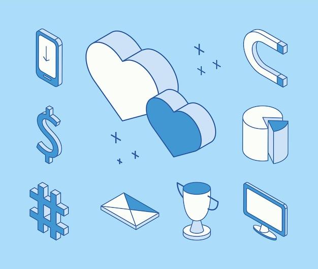 Zehn isometrische social-media-symbole