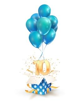 Zehn jahre feier. grüße des zehnten jahrestages isolierten gestaltungselemente. öffnen sie eine strukturierte geschenkbox mit zahlen und fliegen sie auf luftballons.