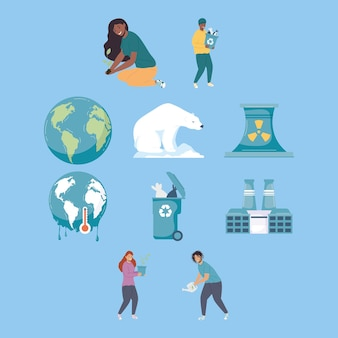 Zehn klimawandel-symbole