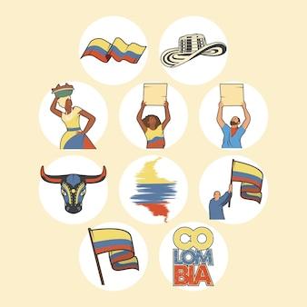 Zehn kolumbianische elemente