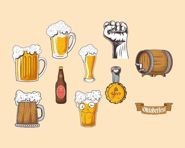Zehn oktoberfest-feier-set-icons
