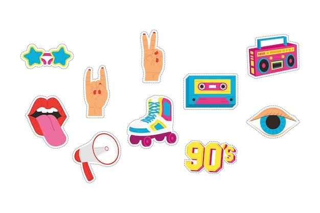 Zehn patches aus den achtzigern setzen symbole