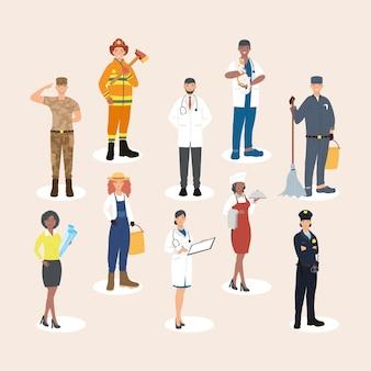Zehn professionelle arbeiter
