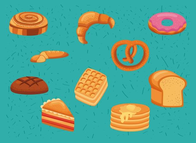 Zehn süße gebäcksymbole
