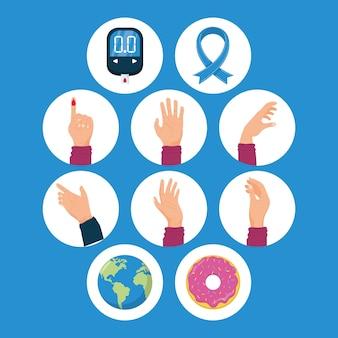 Zehn symbole für den weltdiabetestag
