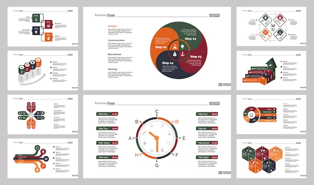 Zehn teamarbeit charts slide templates set