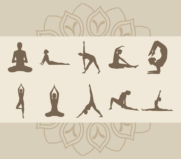 Zehn yogapositionen