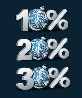 Zehn-, zwanzig- und dreißig-prozent-rabatt-symbol mit blauen weihnachtskugeln