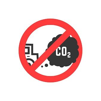 Zeichen, das emissionen von kohlendioxid verbietet. konzept des ökosystems, gefahr, schaden, straßenschild, smog, gefahr, kraftstoff. isoliert auf weißem hintergrund. flacher stil trend moderne logo-design-vektor-illustration
