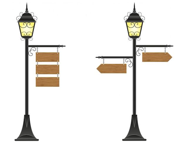 Zeichen der hölzernen bretter, die an einer straßenbeleuchtungsvektorillustration hängen