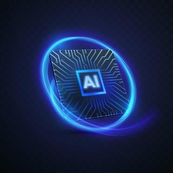 Zeichen der künstlichen intelligenz des mikrochips mit leiterplattenmuster und neonlichtspur