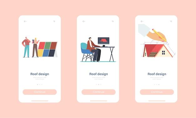 Zeichen, die dachdesign für cottage house mobile app page onboard screen template projizieren. grafikdesigner erstellen 3d-modell des daches im programm für das kundenkonzept. cartoon-menschen-vektor-illustration