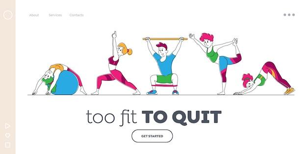 Zeichen, die zu hause oder im fitnessstudio landing page template dehnen