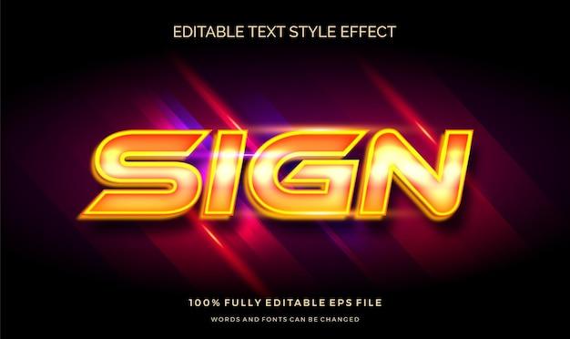 Zeichen mit dem bearbeitbaren textstileffekt des gelben lichts