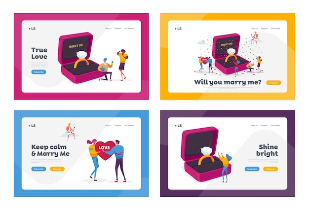 Zeichen romantischer vorschlag landing page template set