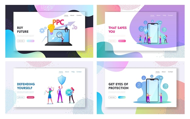 Zeichen setzen smartphone screen protector landing page template set.
