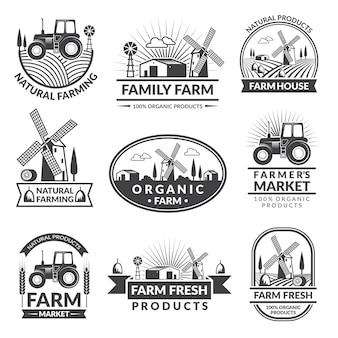 Zeichen und kennsätze für bauernhofmarkt. monochrome etiketten mit platz für ihren text gesetzt