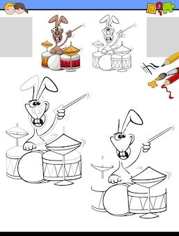 Zeichen- und malaufgabe mit kaninchen, das trommeln spielt
