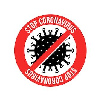 Zeichen vorsicht coronavirus. stoppen sie das coronavirus. ausbruch coronavirus. coronavirus-gefahr und risiko für die öffentliche gesundheit, krankheit und grippeausbruch. medizinisches konzept der pandemie mit gefährlichen zellen. vektorillustration.