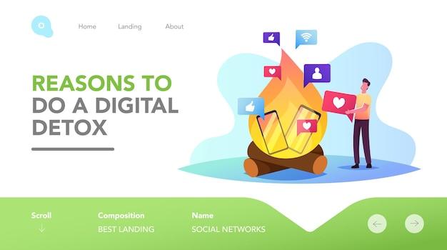 Zeichenablehnung von geräten, internet und sozialen netzwerken digital detox landing page template. mann wirft gadgets ins feuer, weigert sich, offline von telefon- und online-sucht zu sein. cartoon-vektor-illustration