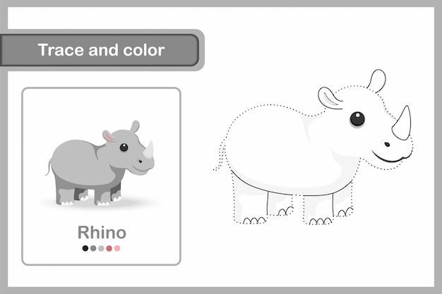Zeichenarbeitsblatt für kinder im vorschulalter, spur und farbe: rhino
