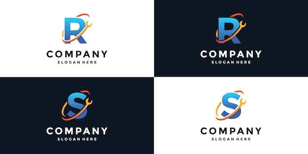 Zeichenbuchstabe r und s logo-schlüssel