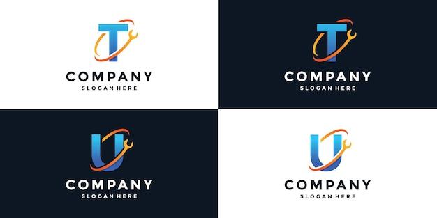 Zeichenbuchstabe t und u-schraubenschlüssel-logo