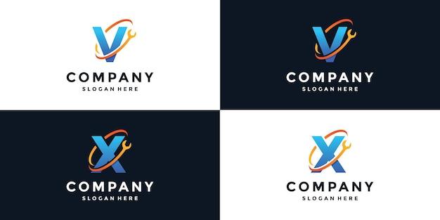 Zeichenbuchstabe v und x schraubenschlüssel logo