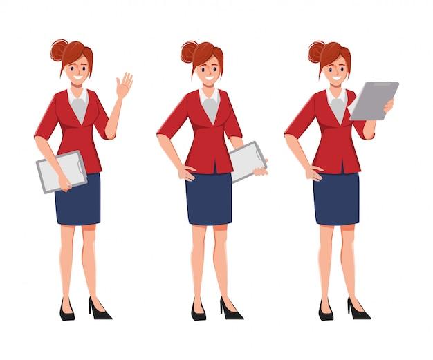Zeichengeschäftsfrau-haltungssatz. büroangestellter personal. geschäftsfrau, die ein klemmbrett hält.