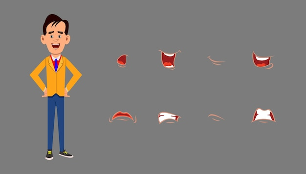 Zeichenlippensynchronisations-ausdruckssatz. unterschiedliche emotionen für benutzerdefinierte animationen oder designs