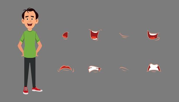 Zeichenlippensynchronisations-ausdruckssatz. unterschiedliche emotionen für benutzerdefinierte animationen