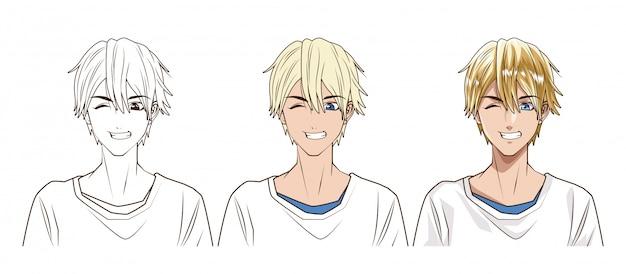 Zeichenprozess des anime-artcharaktervektor-illustrationsdesigns des jungen mannes