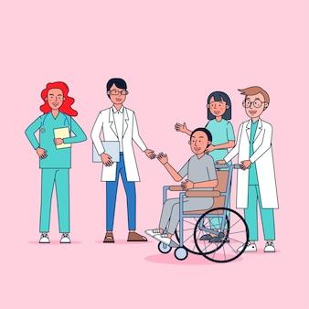 Zeichensammlung von ärzten großer satz isolierte flache illustration, die professionelle uniform, karikaturstil auf krankenhausthema trägt