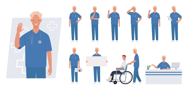 Zeichensatz der männlichen krankenschwester. unterschiedliche posen und emotionen.