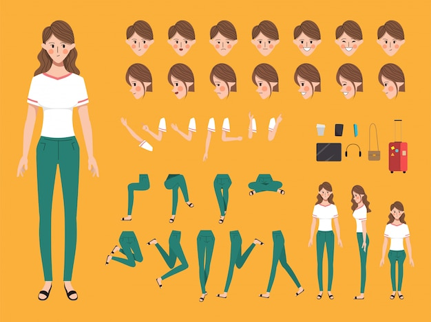 Zeichensatz für animation kreation menschen mit emotionen gesicht.
