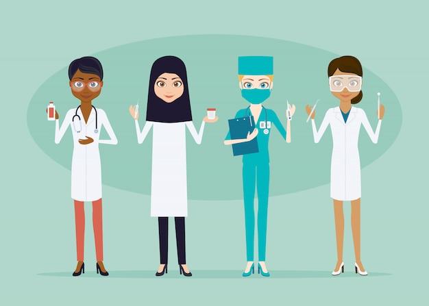 Zeichensatz für arzt oder krankenschwester. flache art infografik illustration. mädchenmediziner verschiedener rassen und nationalitäten mit medizinischen instrumenten