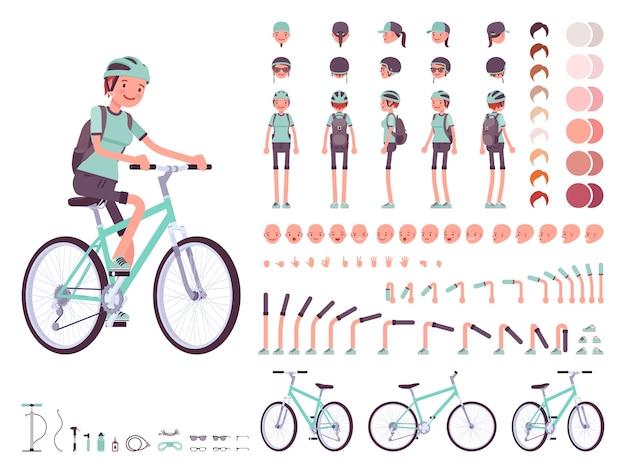 Zeichensatz für weibliche radfahrer