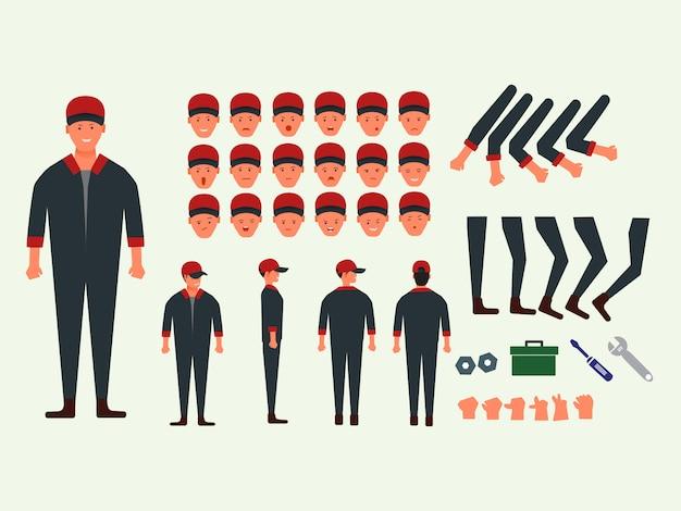 Zeichensatz mechaniker mann