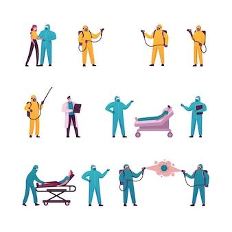 Zeichensatz mit anzügen und gesichtsmaske für die coronavirus-desinfektion