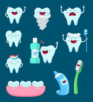 Zeichensatz von lustigen zähnen und von zahnbürste Premium Vektoren