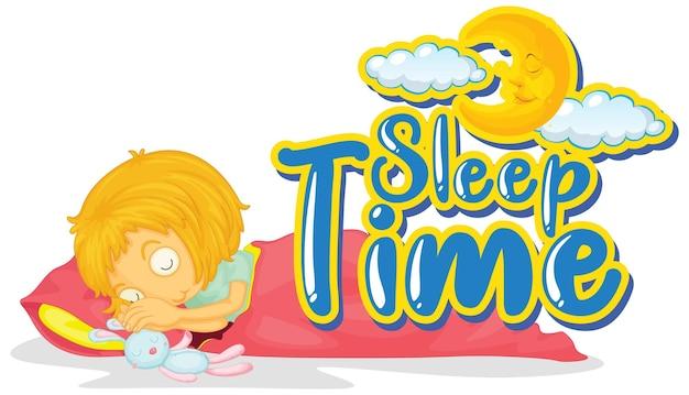Zeichenschablone mit wortschlafzeit und mädchen im bett