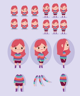 Zeichentrickfigur-animationsmädchen kleidete in den streifen und in einigen körperteilen an