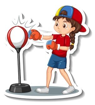 Zeichentrickfigur-aufkleber mit einem lochenden mädchen
