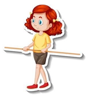 Zeichentrickfigur-aufkleber mit einem mädchen, das einen holzstab hält