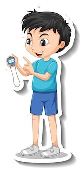 Zeichentrickfigur-aufkleber mit sporttrainerjunge, der einen timer hält
