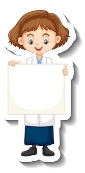 Zeichentrickfigur-aufkleber mit wissenschaftlermädchen, das leeres brett hält